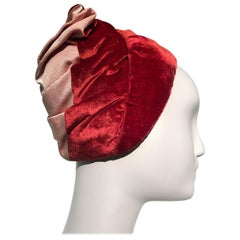 1950s Miss Dior Red Velvet Pink Satin & Faille Ruched Turban Style Hat