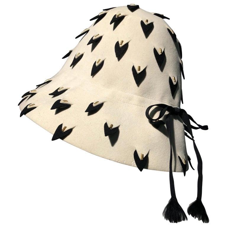 1960s Yves Saint Laurent Eggshell Felt Bucket Hat W/ Pierced Embellishment For Sale