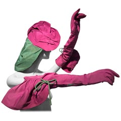 Rare 1940s Sally Victor Fuchsia & Green Hat & Opera Glove Ensemble