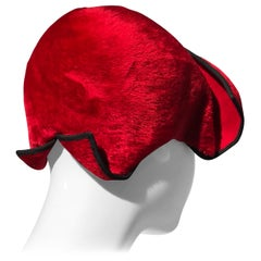 1950s John Frederics Cardinal Red Fur Felt Cloche Hat W/ Black Trim