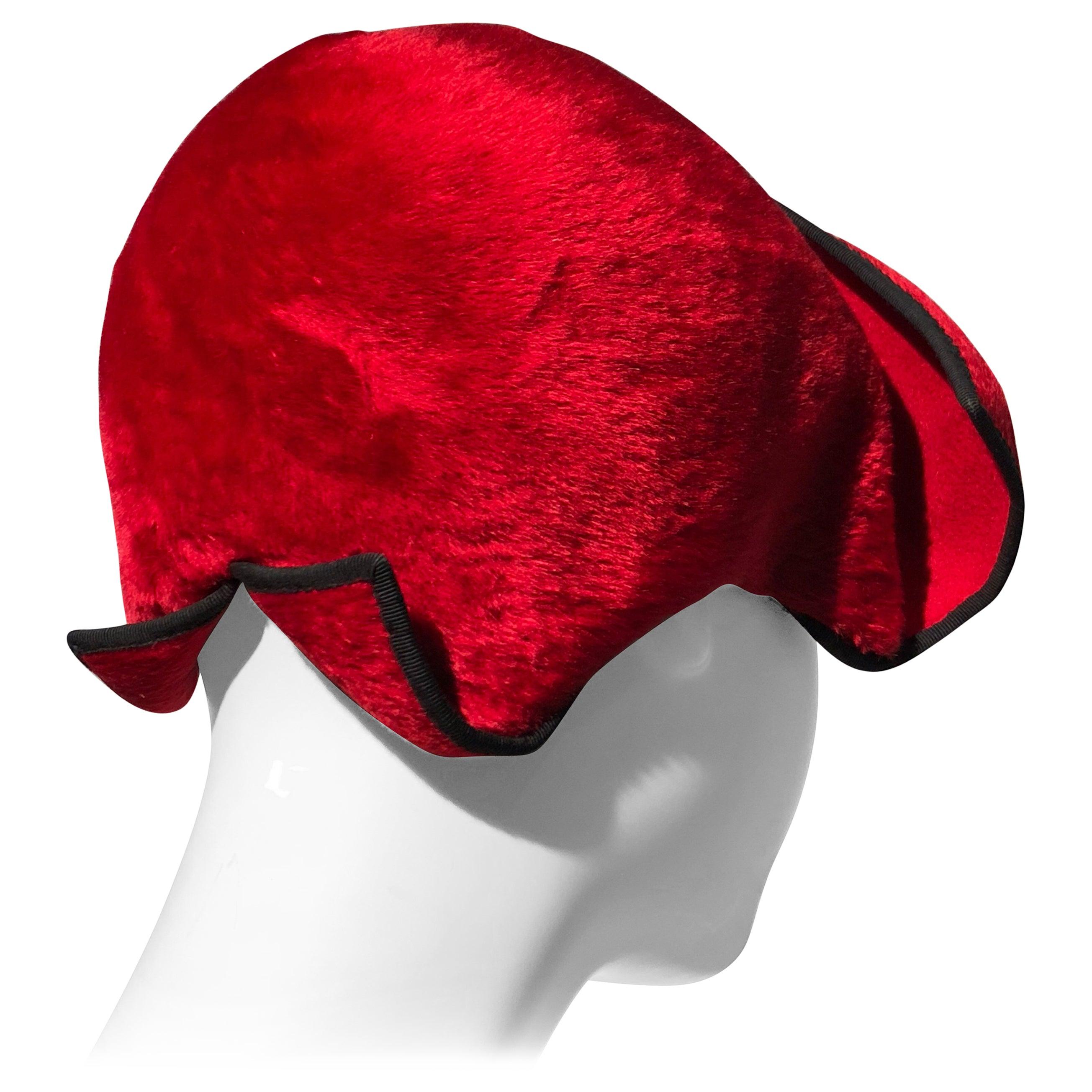 1950s John Frederics Cardinal Red Fur Felt Cloche Hat W/ Black Trim