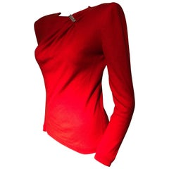 1980s Valentine Red Wool Knit Top W/ Structured Shoulders & Rhinestone Detail