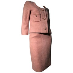 1960s Christian Dior Dusty Rose Spring Weight Wool Bouclé Mini Skirt Suit
