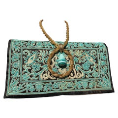 1940s Henry Rosenfeld Turquoise & Gold Embroidered Envelope Clutch W/ Necklace