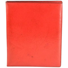 Gucci Vintage Red Leather 6 Ring Agenda Notebook with Pen