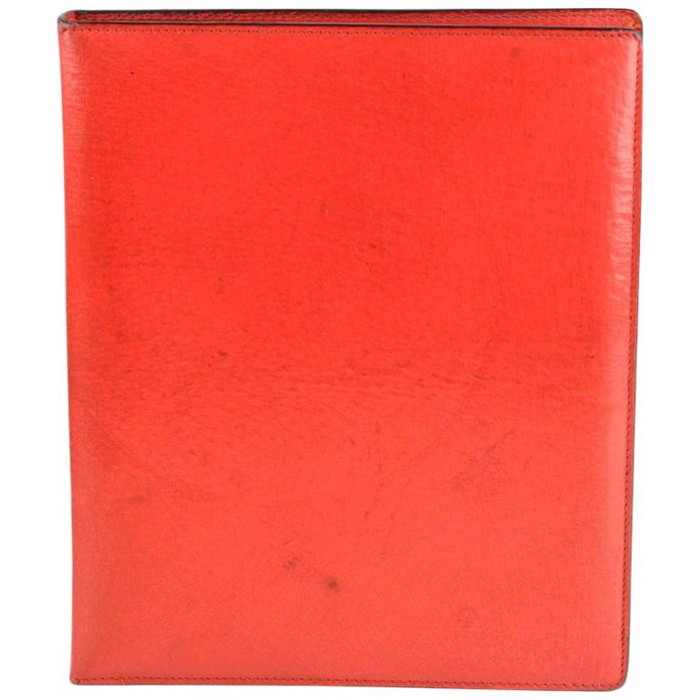 7357eebdb Gucci Vintage Red Leather 6 Ring Agenda Notebook with Pen For Sale ...