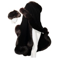 Halston Luxurious Black Silk Velvet Fox Fur Cape & Fox Fur Hat Ensemble