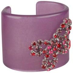 De Liguoro Vintage Haute Couture Purple Acrylic Resin Cuff Bracelet