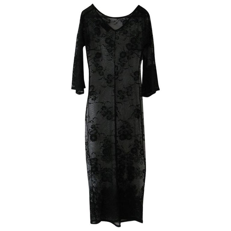 DOLCE & GABBANA Under Dress in Transparent Black Lace effect Size 38 For Sale