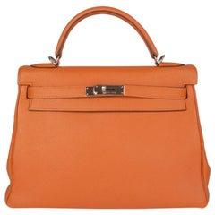 HERMES orange Togo KELLY II 32 RETOURNER Bag