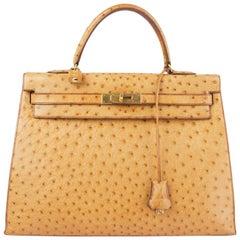 HERMES Saffron beige Ostrich KELLY I 35 SELLIER Bag