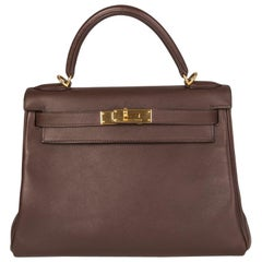 HERMES Chocolate brown Swift KELLY II 28 RETOURNER Bag