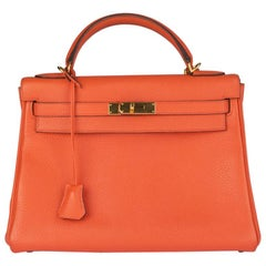 HERMES Orange Poppy Togo KELLY II 32 RETOURNER Bag