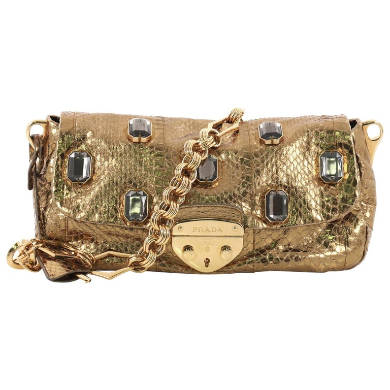 27bc9b75aa32 Prada Whips Pietre Lock Flap Shoulder Bag Embellished Python Small For Sale