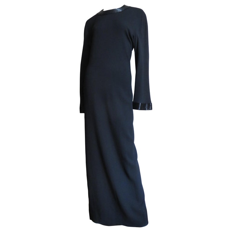 2f36340340 Anne Klein 1990s Bell Sleeve Column Maxi with Sequin Trim For Sale ...
