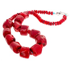 Red Bamboo Coral and Turquoise Necklace