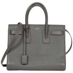 YSL Yves Saint Laurent Grey Pebbled Leather Small Sac De Jour Tote Bag