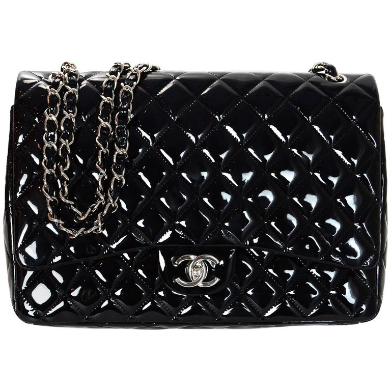 5fc5feea258f Chanel Black Patent Leather Quilted Maxi Double Flap Classic Bag w Box &  DustBag For Sale