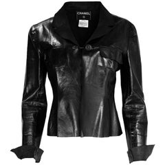 Chanel Vintage Black Distressed Leather Jacket/Blazer Sz 40