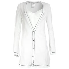 Chanel White Cotton Cardigan W/ Black Trim Sz 36