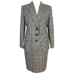 Valentino Prince of Galles Skirt Suirt Wool Check Dress Gray 1990s Size 8 Us NWT