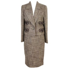 1990s Valentino Brown Wool Boucle Tailleur Skirt Suit Dress NWT