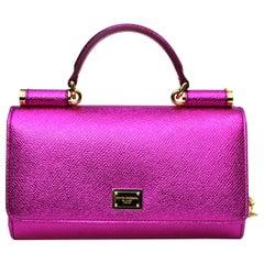 Dolce & Gabbana Fucsia Laminated Leather Mini Van Bag