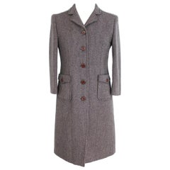 2000s Miu Miu Brown Tweed Wool Above Knee Long Coat