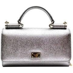 Dolce & Gabbana Silver Laminated Leather Mini Von Bag