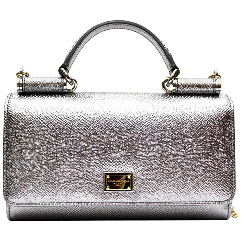 62efac9668fc Dolce and Gabbana Silver Laminated Leather Mini Von Bag at 1stdibs