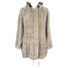 1980s Gianfranco Ferre Beige Viscose Faux Fur Hoodie Jacket