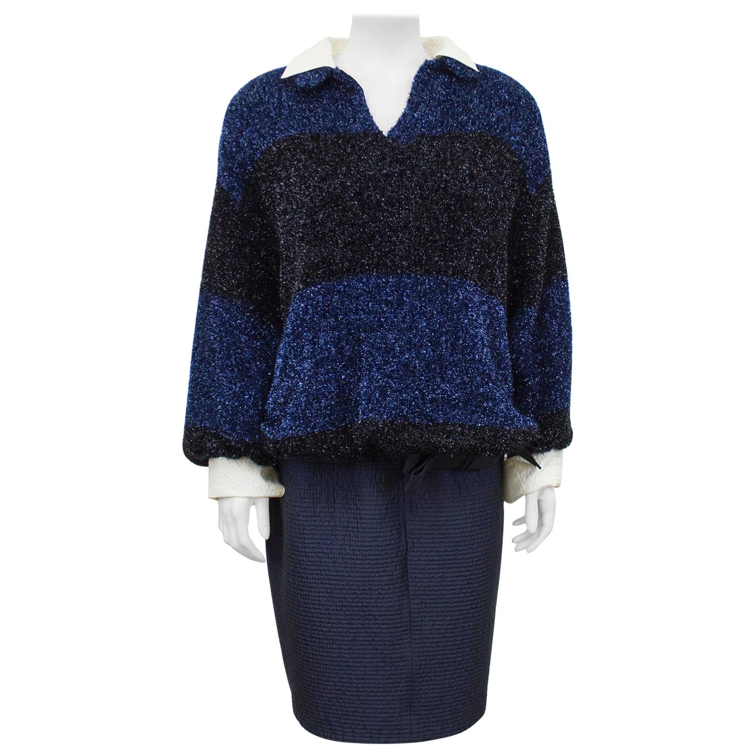 1980s Ferre Navy Fuzzy Lurex Top and Skirt
