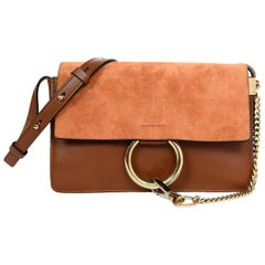 Chloe Tan Leather/Suede Small Faye Crossbody Bag W/ Dust Bag
