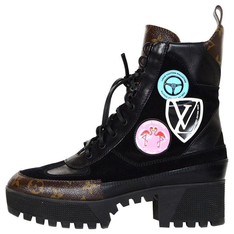 fedc6b48ef48 Louis Vuitton Monogram Suede Leather Checkpoint Platform Desert Boots Sz  39.5 For Sale