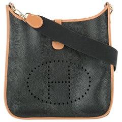 "Hermes Black Cognac Leather Canvas ""H"" Logo Men's Women's Crossbody Shoulder Bag"