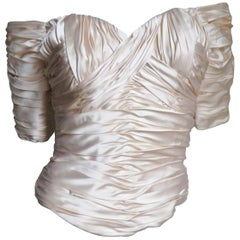 1990s Vicky Tiel Silk Ruched Corset Top