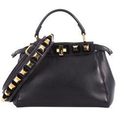 Fendi Peekaboo Handbag Leather with Studded Detail Mini