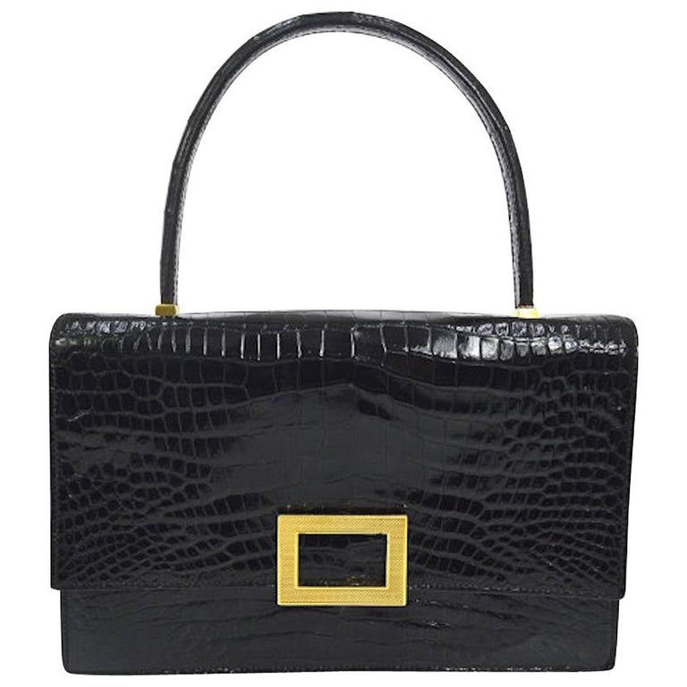 Hermes Black Leather Gold Emblem Evening Kelly Style Top Handle Satchel Bag For Sale