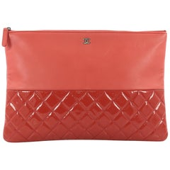 Chanel O Case Clutch Lambskin and Quilted Patent Large