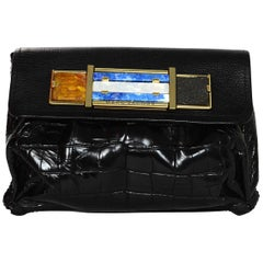 Marc Jacobs Black Leather/Crocodile Quardi Clutch Bag w/ Stone Detail