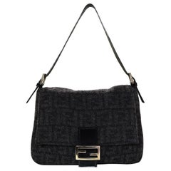 Fendi Grey Cashmere/Wool Mono Logo Print Zucca Mama Baguette Bag W/ FF Buckle