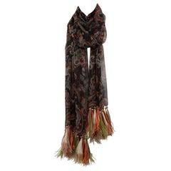 Printed Silk Chiffon & Feathers Scarf Stole