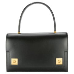 Hermes Black Leather Evening Gold Stud Top Handle Satchel Kelly Style Bag