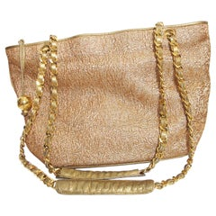 Chanel Gold Brocade and Leather Tote Bag