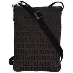 Fendi Dark Brown FF Canvas Monogram Zip Top Flat Crossbody Bag