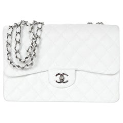 Chanel White Quilted Caviar Leather Single Flap Jumbo Classic Bag w. Silver