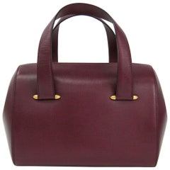 Cartier Burgundy Leather Gold Accent Top Handle Satchel Speedy TotBoston Bag