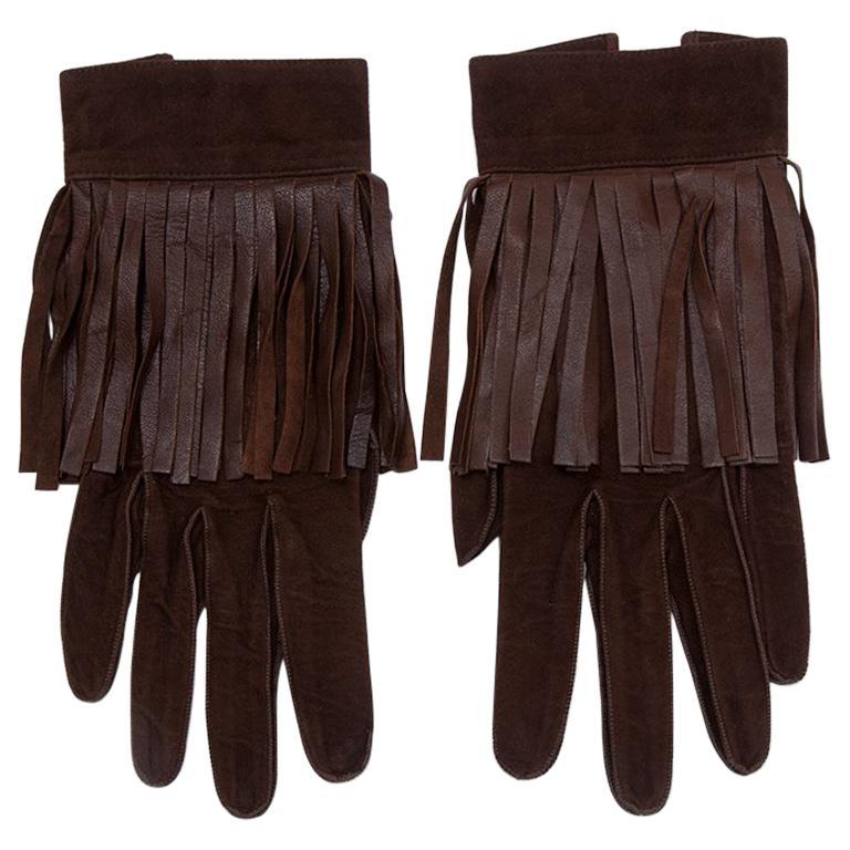 Yves Saint Laurent Suede Fringed Gloves
