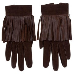 Yves Saint Laurent Suede Fringed Gloves