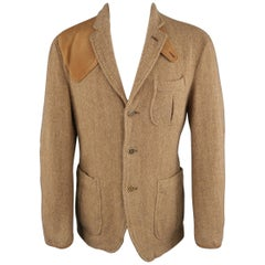 RALPH LAUREN 38 Tan Herringbone Tweed Wool Suede Elbow Pad Jacket